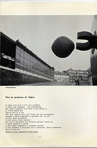 Takis catalogue, Galleria Schwarz, 1962, text by Brion Gysin (Italian)