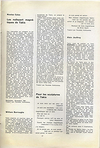 Takis catalogue, Galleria Schwarz, 1962, French translation of texts