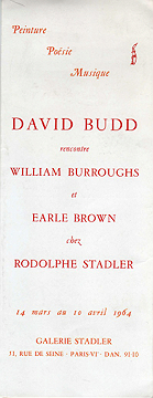 david budd rencontre william burroughs et earle brown, exhibition catalogue, cover