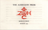 Auerhahn Press, Books in Print, August 1964