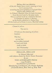 Edward Marshall, Hellan, Hellan, Announcement