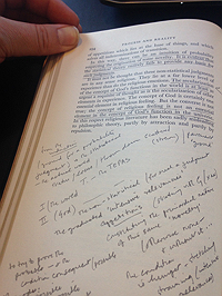 Annotations in Ralph Maud's copy of Process and Reality