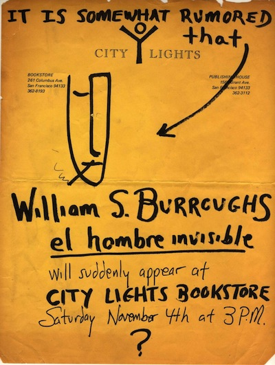 City Lights Flyer announcing Burroughs reading