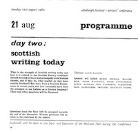 1962 International Writers Conference Program - Day Two: Scottish Writing Today