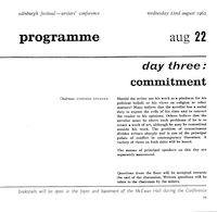 1962 International Writers Conference Program - Day Three: Commitment