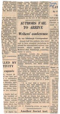 Authors Fail to Arrive - 21 August 1962