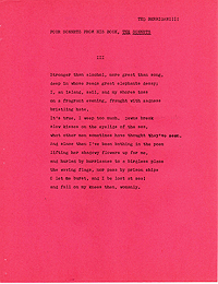 Ted Berrigan, Four Sonnets from The Sonnets