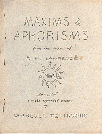 Maxims And Aphorisms from the Letters of D.H. Lawrence