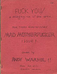 Fuck You / A Magazine of the Arts / Number 5, Volume 8 / Interior Cover