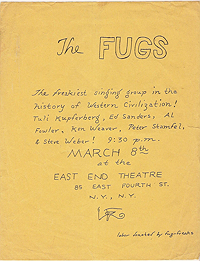 Handbill for The Fugs appearance at the East End Theatre for March 8, 1965