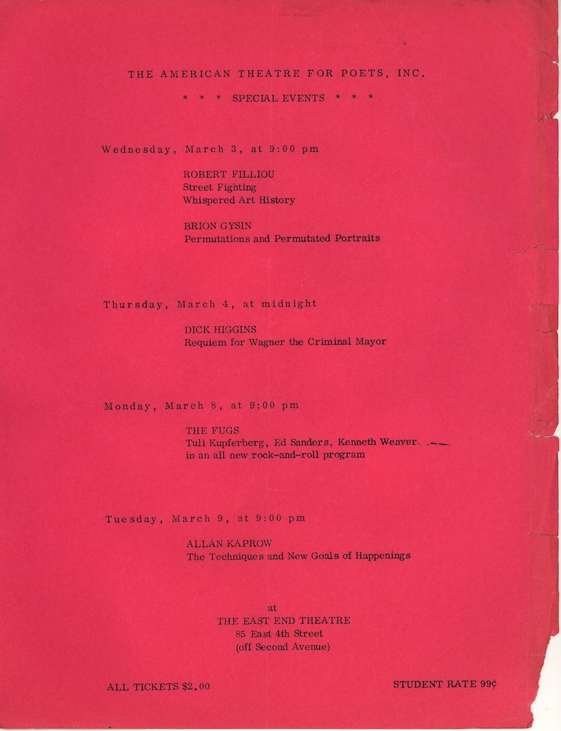 American Theatre for Poets Special Events Calendar, March 1965