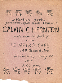 Flyer advertising reading by Calvin C Hernton at Le Metro Cafe on 22 July 1964