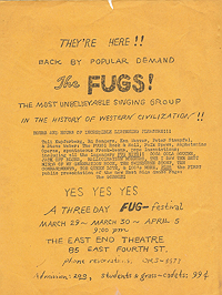 Handbill announcing an appearance by The Fugs at The East End Theatre March 29-30, April 5 (1965?)