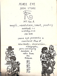 Handbill for Peace Eye Books with drawing by Spain Rodriguez