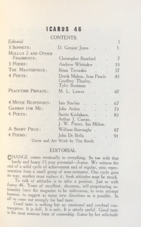 Icarus 46, Table of Contents