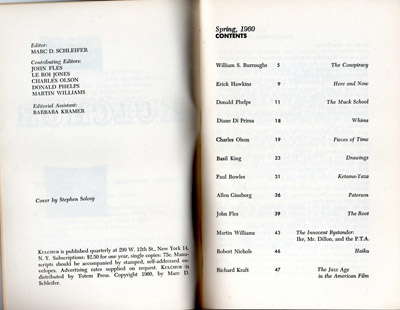 Kulchur 1, Table of Contents
