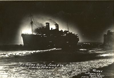 The Morro Castle aflame