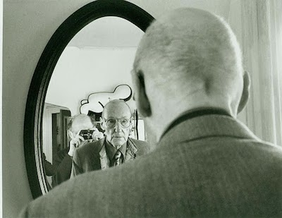 Allen Ginsberg in the mirror with William Burroughs, 19 July 1992