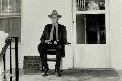 William Burroughs in Lawrence, KS, Sept 1987, photography by Kate Simon