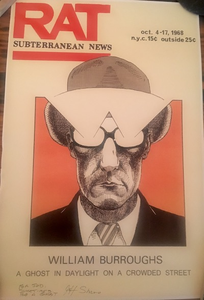 William Burroughs Rat Poster reproducing cover of the October 4-17 issue of Rat