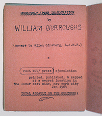 William S. Burroughs, Roosevelt after Inauguration, ad, Fuck You Press, 1964