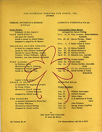 Schedule Flyer for American Theatre for Poets