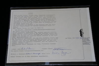Contract for the sale of the William S Burroughs archive to Roberto Altmann (from the collection of of Bradley P Allen)