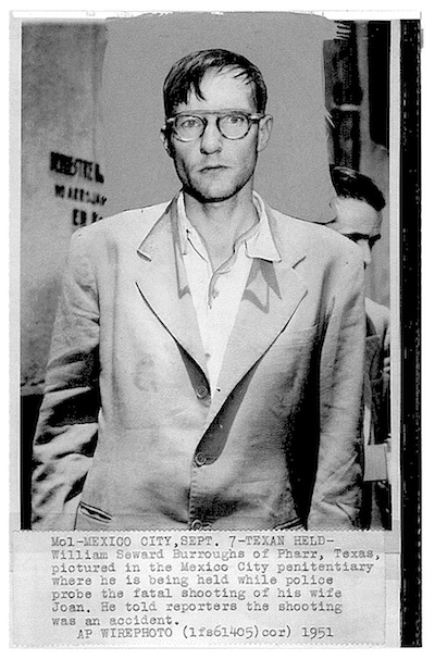 AP wire photo of William S. Burroughs after his arrest for the shooting death of his wife Joan Vollmer Burroughs