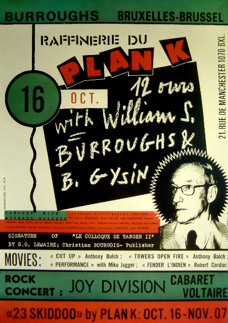 Poster for the 16 October 1979 performance at Plan K, Brussels, featuring William S. Burroughs and Joy Division