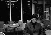 William Burroughs in front of La Palette, photograph by Brion Gysin