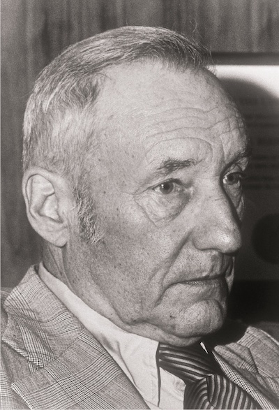 William S Burroughs in 1980, photograph by Tim Hildebrand  (shot at a reading Burroughs gave in San Francisco)