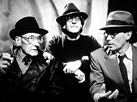 William Burroughs, David Cronenberg, and Peter Weller on the set of the Naked Lunch film