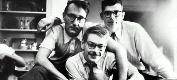 William Burroughs, Lucien Carr, and Allen Ginsberg. 1953 photo by Allen Ginsberg