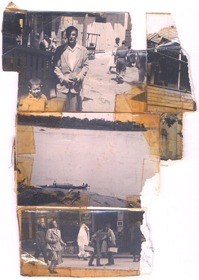 Photo collage by William S. Burroughs. Cafe Central (possibly Paul Bowles), top; unidentified street (probably Mexico), bottom; unidentified man on street, bottom right. Silver gelatin print and scotch tape.