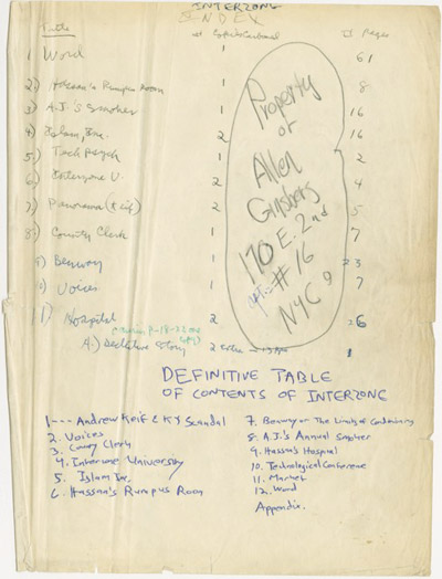 Allen Ginsberg's Index on the Interzone Manuscript