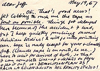 Letter, Carl Weissner to Jeff Nuttall, 19 May 1967