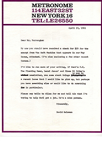 Letter from David Solomon to William Burroughs, 19 April 1961