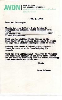 Letter from David Solomon to William Burroughs, 5 Feb 1962