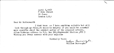 Letter from William S. Burroughs to Michael Butterworth, 6 April 1967
