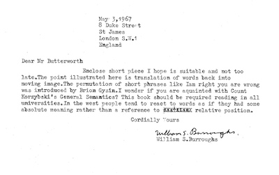 Second Letter from William S. Burroughs to Michael Butterworth, 3 May 1967