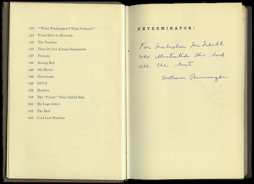 William Burroughs, Exterminator! inscribed to Malcolm Mc Neill