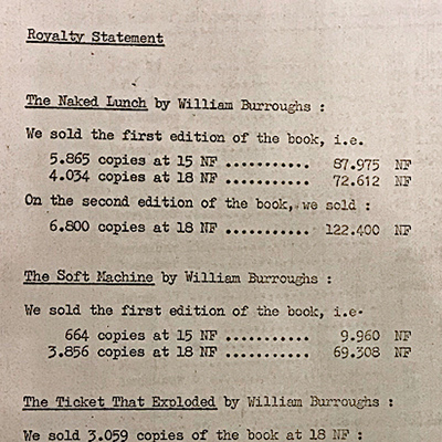 May 31 1965 Royalty Statement from Olympia Press