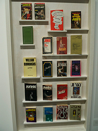 Cabinet showing editions of William Burroughs' Junky