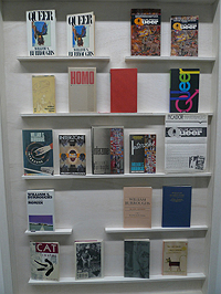Vitrine featuring editions of William Burroughs' Queer