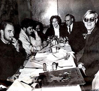 Andy Warhol with William Burroughs at Panna Grady's dinner at a Chinese Restaurant