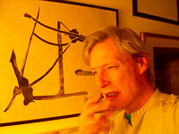 Ian MacFadyen with His Painting Guillotine for Brion Gysin