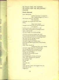 Charles Bukowski, So Much for the Knifers