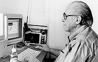 Charles Bukowski and his Apple Computer