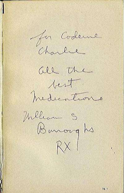 Book inscribed by William Burroughs to Charles Plymell