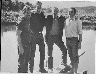Charles Plymell, James Grauerholz, William Burroughs, and John Giorno at Cherry Valley